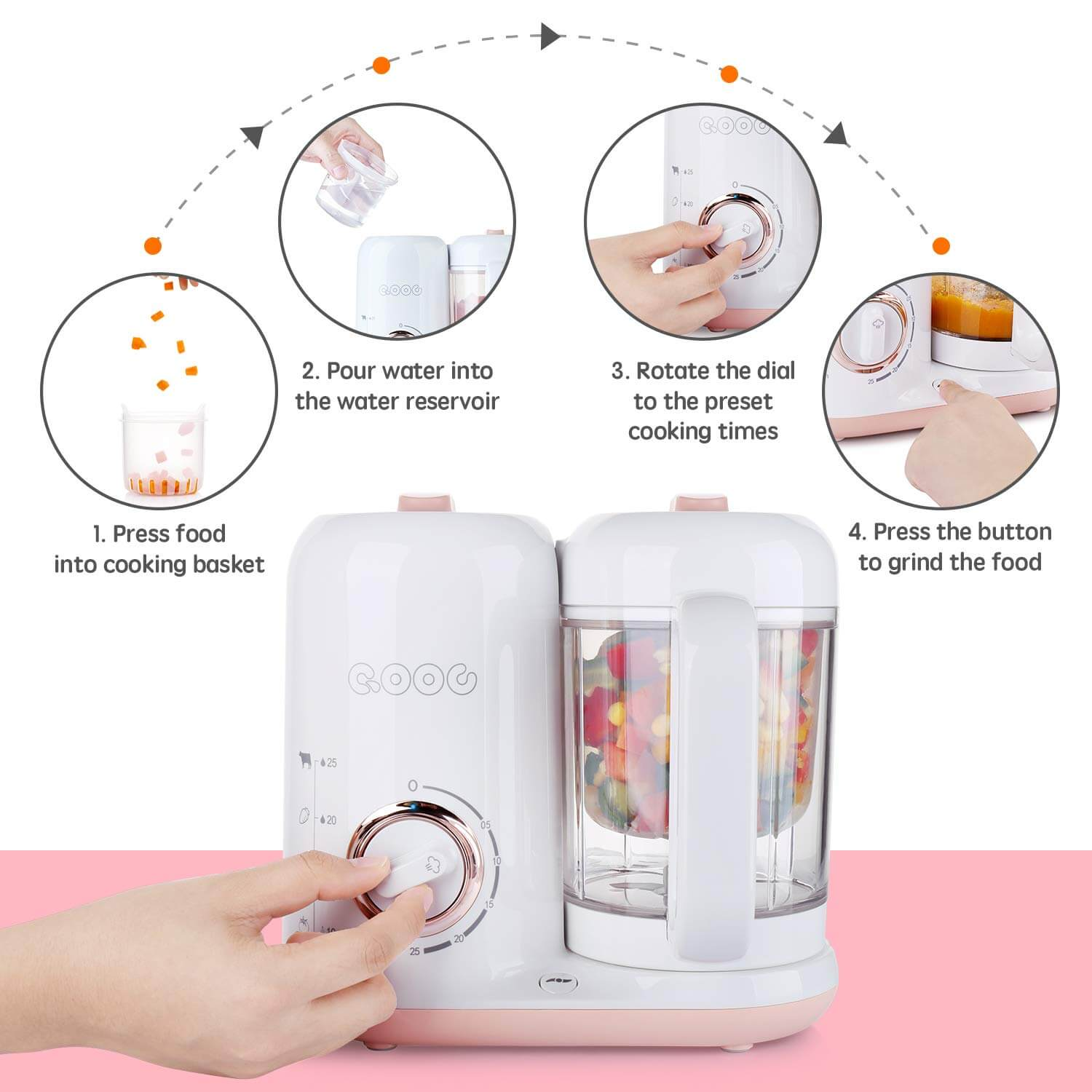 QOOC 4-in-1 Baby Food Maker Pro,  food processor for baby food, making your own baby food,
