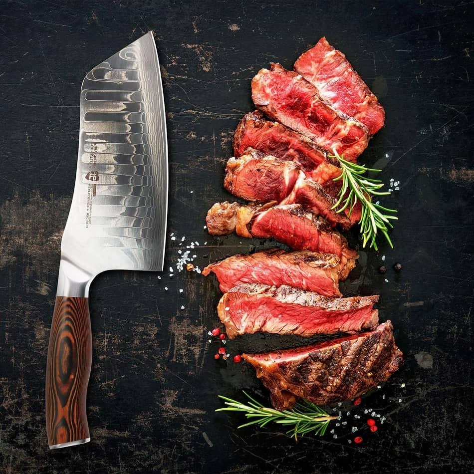 TUO Cutlery Cleaver Knife - Japanese AUS-10 Damascus steel, best japanese knives, best quality knives, Best Japanese chef knives