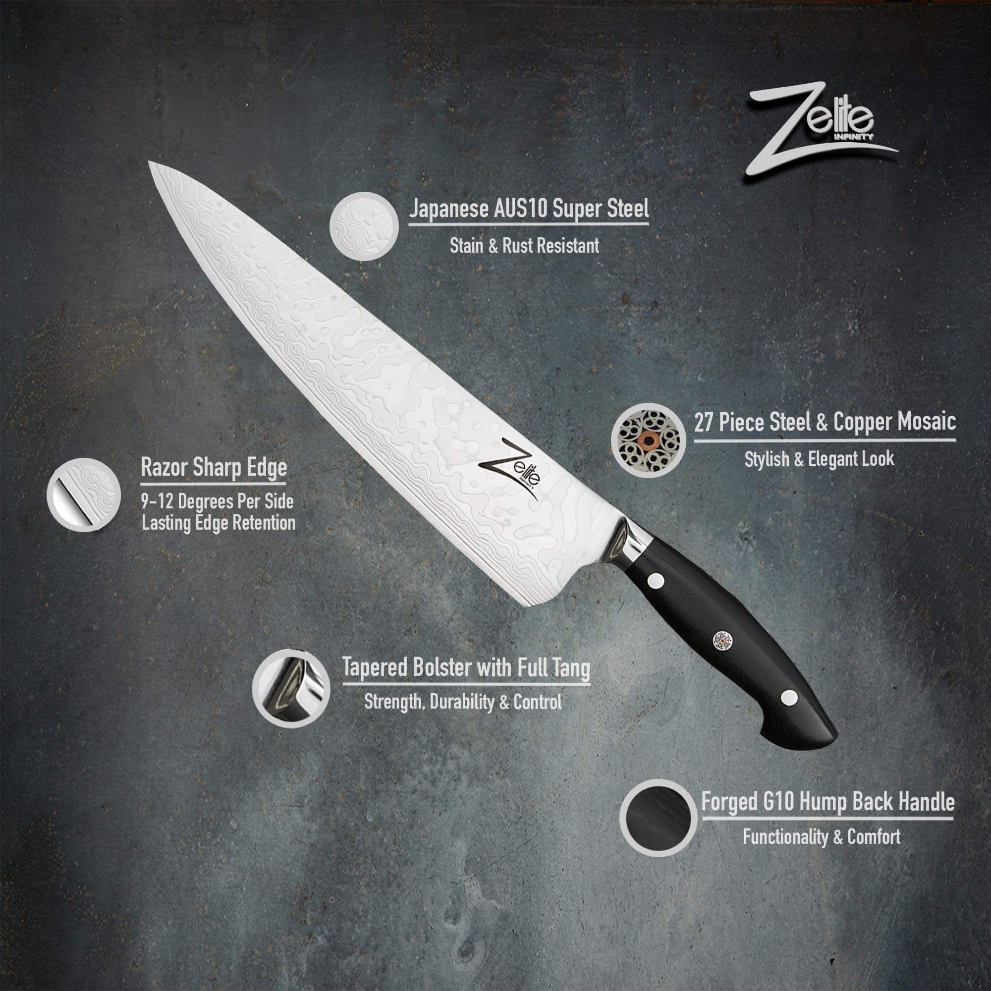 Zelite Infinity Chef Knife 10 Inch, japanese kitchen knives, best knife for home cook
