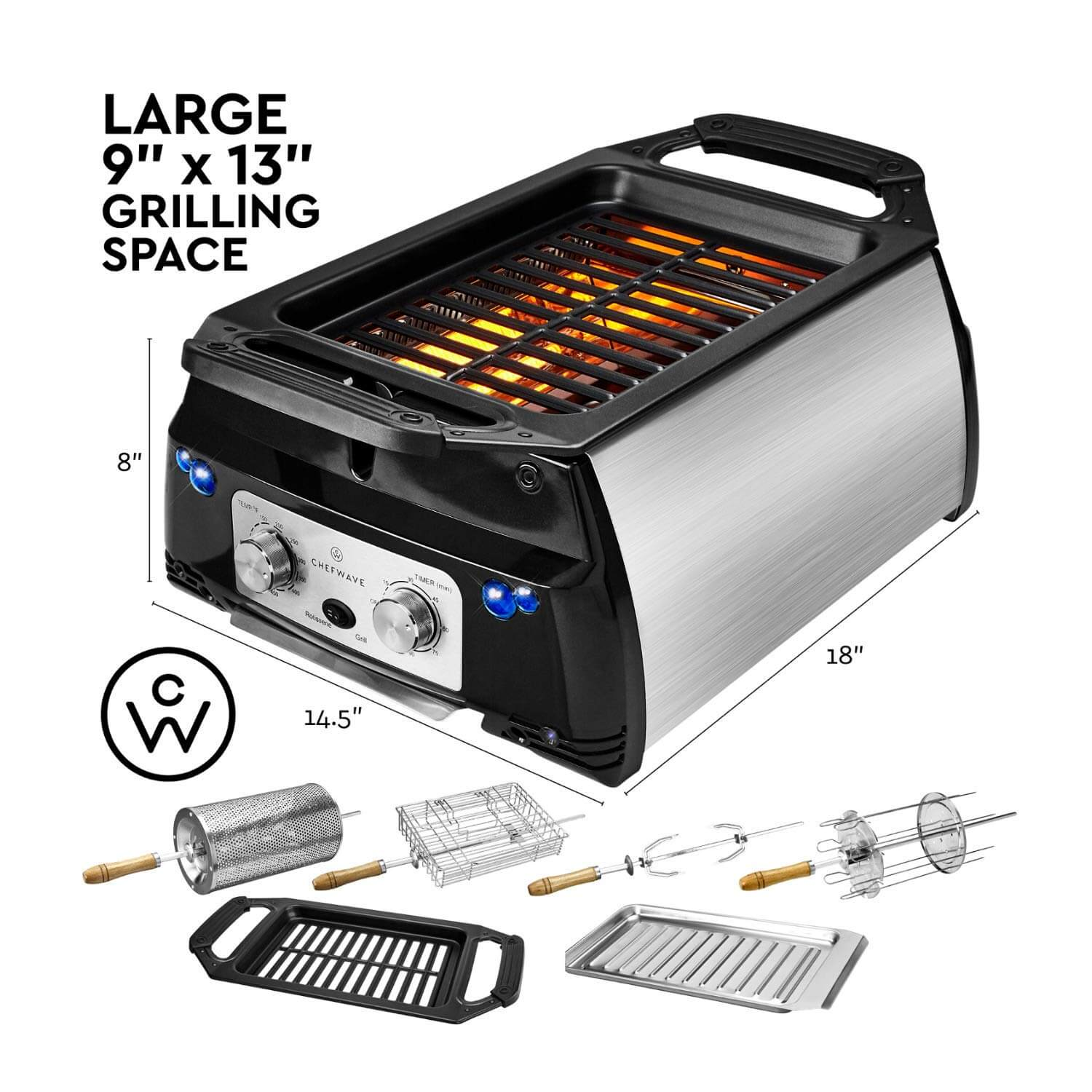 best smokeless indoor grill,  ChefWave Smokeless Indoor Electric Grill & Rotisserie, indoor grills, indoor smokeless grill, inside grill,