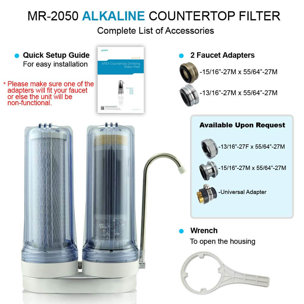 APEX EXPRT MR-2050 Quality Dual Countertop Drinking Water Filter,apex water filters, alkaline water filter amazon, best water purifier system, best gravity water filter, drinking water filter system, counter water filter