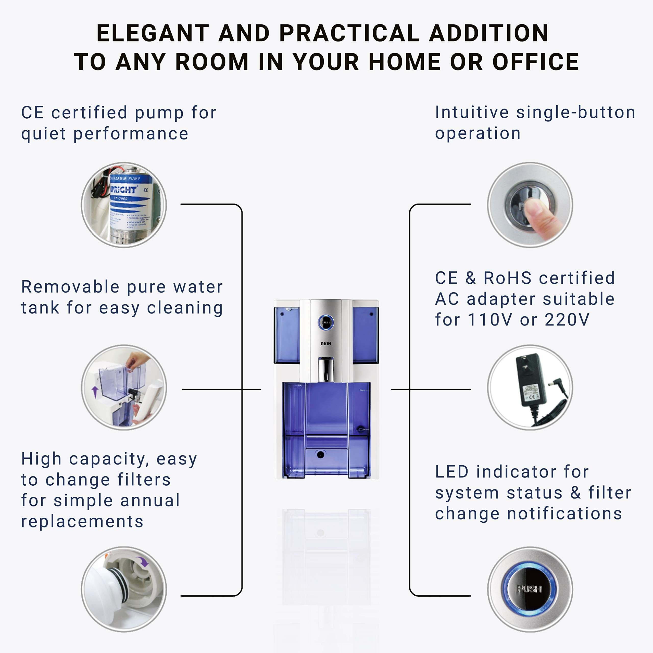 AlcaPure Zero Installation Purifier Reverse Osmosis Countertop Water Filter, reverse osmosis water filter countertop, countertop reverse osmosis water filter, the best water filter, best tap water filter, drinking water filtration system