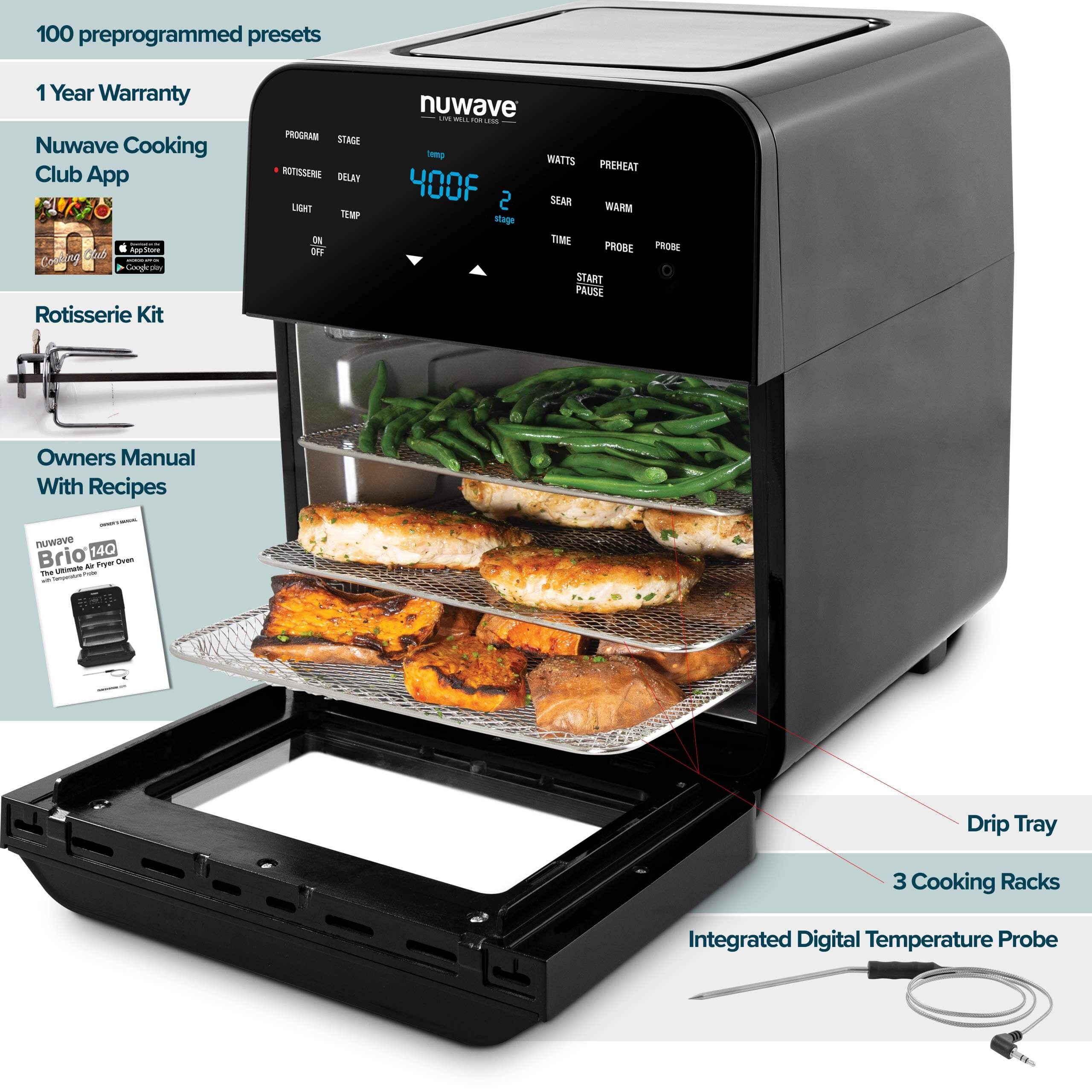 NUWAVE BRIO 14-Quart Large Capacity Air Fryer Oven, best air fryer review, best deep fryer, best toaster oven air fryer, what is the best air fryer, nuwave air fryer, nuwave brio air fryer, nuwave air fryer reviews