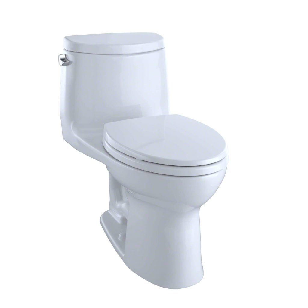 Toto MS604114CEFG#01 UltraMax II best flushing toilet 2021, One-Piece Elongated 1.28 GPF Universal Height Toilet with CEFIONTECT, Cotton White