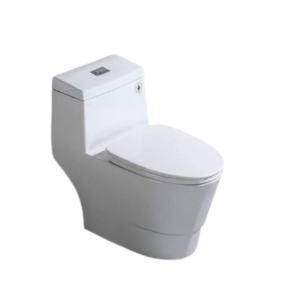 WoodBridge T-0001 One Piece Toilet, Rectangle Button and Soft Closing Seat - Dual Flush, Elongated, Comfort Height, Water Sense, High-Efficiency