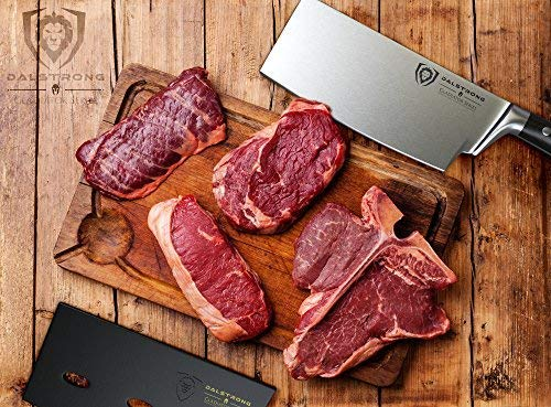 The sharp, flat edge of the Dalstrong cleaver butcher knife provides more contact with the cutting board and exceptional precision.