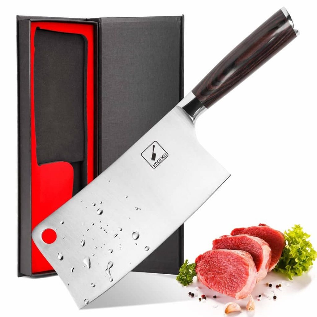 Imarku 7-Inch Professional Cleaver Knife is the best cleaver knife 2021 slicing the meat