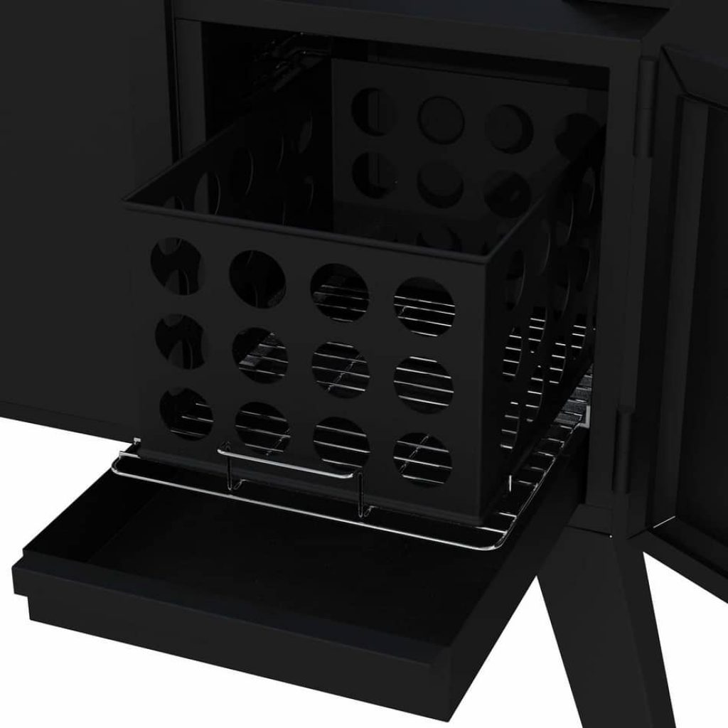 Removable wood chip box in dyna-glo dgo1176bdc-d charcoal offset smoker review